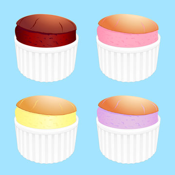 A vector illustration of 4 different flavoured souffles in white ramekins on a blue background, including Chocolate, Strawberry, Lemon and Blueberry.