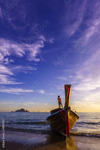 Traditional Thai Boats At Sunset Beach Ao Nang Krabi Province