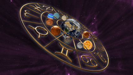 Mystic astrology zodiac horoscope symbol with twelve planets in cosmic scene. 3D rendering