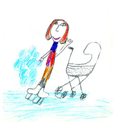 Child's drawing of a Mom with stroller in snowy weather.