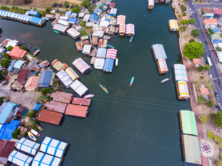 Aerial view of floating house on mount of river