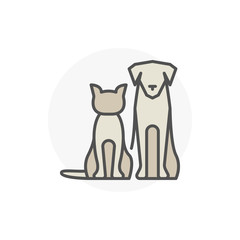 Cat with dog vector icon