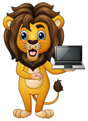 Funny lion cartoon presenting a laptop
