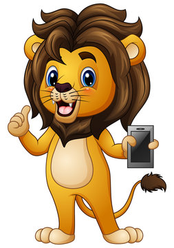 Cartoon lion giving thumbs up with holding a phone