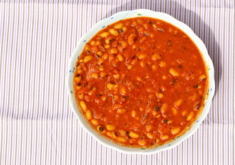 Spicy Lobia Dal dish; popular meal of Indian households