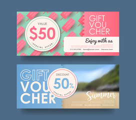 Summer gift voucher discount template with colorful background. Vector illustration.banners.