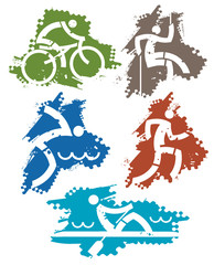 Outdoor sports grunge icons. Set of outdoor colorful icons on the grunge background. Vector available.