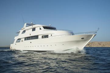 Luxury motor yacht at sea