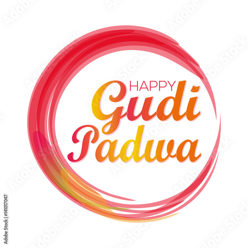 Happy Gudi Padwa Gudi Padwa Lettering Card Colorful Grunge Festive