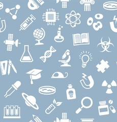 Science, background, seamless, gray-blue, vector.White flat icons on a gray-blue field. Different types of scientific activities. Colored background.