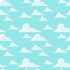 Seamless vector pattern with white clouds on light blue background.