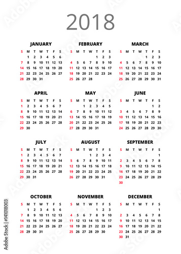 2018 Year Calendar Vertical Book Orientation Vector Template Of