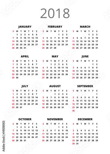 2018 year Calendar. Vertical book orientation vector template of ...