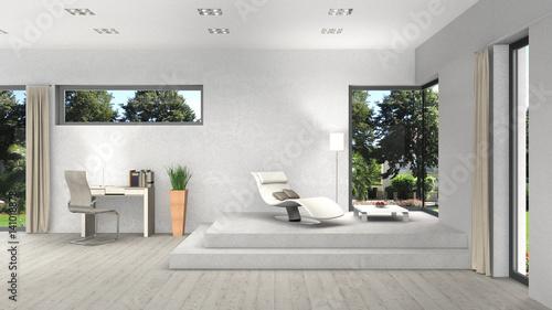 Modernes Wohnzimmer Interior Mit Verschiedenen Fenstern Und Ausblick In Den  Garten