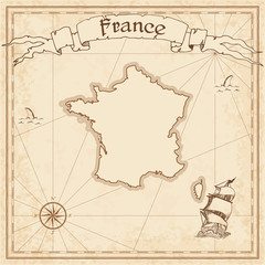 France old treasure map. Sepia engraved template of pirate map. Stylized pirate map on vintage paper.