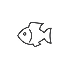 Fish line icon, outline vector sign, linear style pictogram isolated on white. Seafood symbol, logo illustration. Editable stroke. Pixel perfect