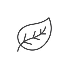 Leaf line icon, outline vector sign, linear style pictogram isolated on white. Eco symbol, logo illustration. Editable stroke. Pixel perfect