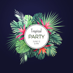 Dark vector floral banner template for summer beach party. Tropical flyer with green exotic plants and red flowers.