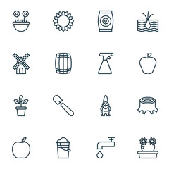 Set Of 16 Farm Icons. Includes Growing Plant, Dwarf, Cask And Other Symbols. Beautiful Design Elements.