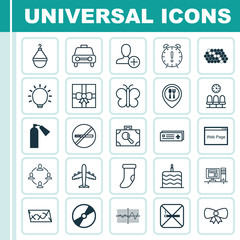 Set Of 25 Universal Editable Icons. Can Be Used For Web, Mobile And App Design. Includes Elements Such As Moth, Cigarette, Computer And More.