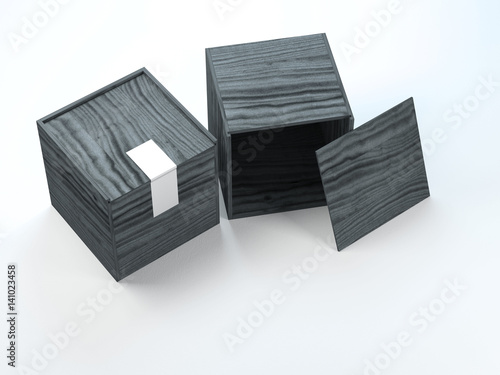 Black Square wooden boxes with silver stickers on dark background. 3d rendering  Stock photo and royalty-free images on Fotolia.com - Pic 130898785 & Black Square wooden boxes with silver stickers on dark background ... Aboutintivar.Com