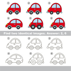 Visual game. Find hidden couple of vehicles.