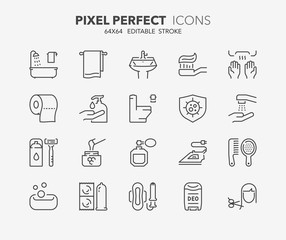 hygiene thin line icons