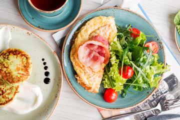 Omelet, fried eggs, bacon, salad, breakfast, eggs, morning, fritters