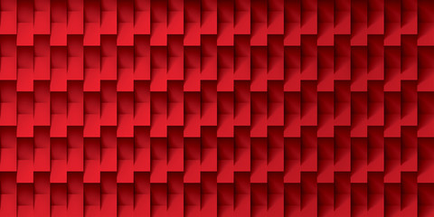 Volume realistic vector texture, red cubes, steps geometric pattern, design wallpaper