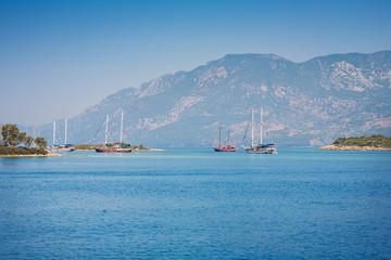 View of islands in Aegean Sea near Marmaris. Turkey