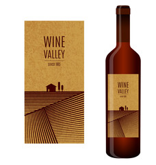 Vector wine label with abstract landscape and bottle of wine with this label
