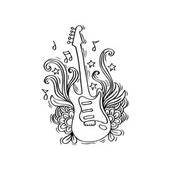 Guitar with floral details for entertainment design
