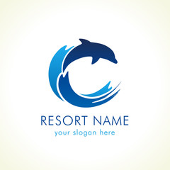 Dolphin jumping above waves. Spa, sport, travel vector logo. Branding identity for hotels, tourist business, spa, beach service, healthcare, holidays, resorts or hotel by the ocean. C name symbol.