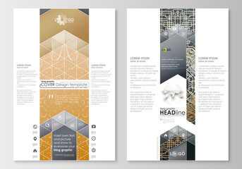 Blog graphic business templates. Page website design template, easy editable, abstract flat layout. Golden technology background, connection structure with connecting dots and lines, science vector.