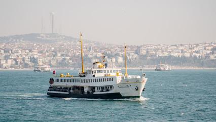 Istanbul, Turkey - February 18, 2017: Istanbul ferry sailing in Bosphorus, Istanbul, Turkey