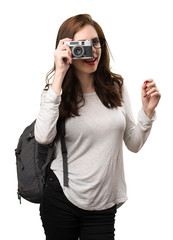 Student woman holding a camera