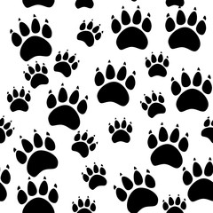 Cat or dog paw seamless pattern - vector animal footprint texture. Vector illustration.