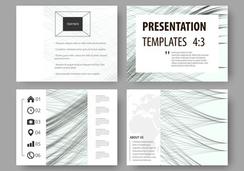 Set of business templates for presentation slides. Easy editable layouts, vector illustration. Abstract waves, lines and curves. Gray color background. Motion design.