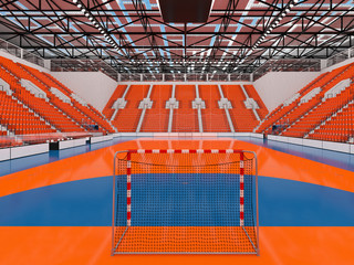 3d render - Beautiful sports arena for handball with orange seats and VIP boxes
