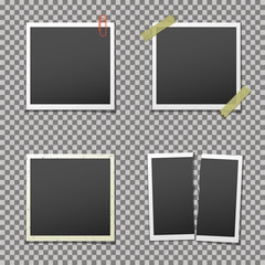 Photo frames with shadow on isolated background, vector template.