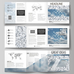 Business templates for tri fold square brochures. Leaflet cover, flat style layout. Blue color pattern with rhombuses, abstract design geometrical vector background. Simple modern stylish texture.