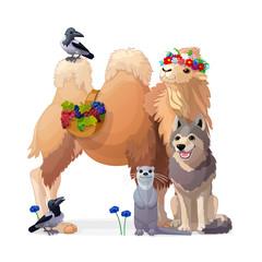 vector painting fantasy concept. Nursery wall art for kids. Hand drawn cartoon animal character 03