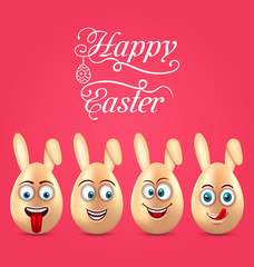 Humor Easter Invitation with Smiling Eggs with Ears