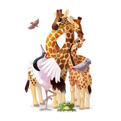 vector painting fantasy concept. Nursery wall art for kids. Hand drawn cartoon animal character 08
