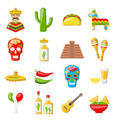 Set of Mexico Icons Isolated on White Background