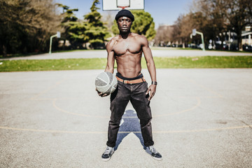 Black basketball player in action