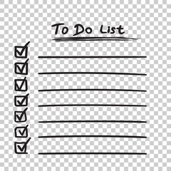 Fototapeta To do list icon with hand drawn text. Checklist, task list vector illustration in flat style on isolated background.