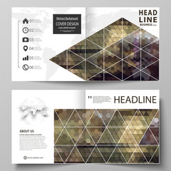 Business templates for square design bi fold brochure, flyer, booklet. Leaflet cover, vector layout. Abstract multicolored backgrounds. Geometrical patterns. Triangular and hexagonal style.