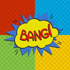 Pop art bang logo. Retro style poster. Vector pop art illustration. Comic style logo. Pop art comics icon. Bang! wording comic speech bubble.