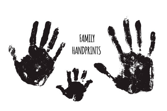 Family handprints vector illustration. Watercolor family handprints of mom, dad, and child. Social illustration.